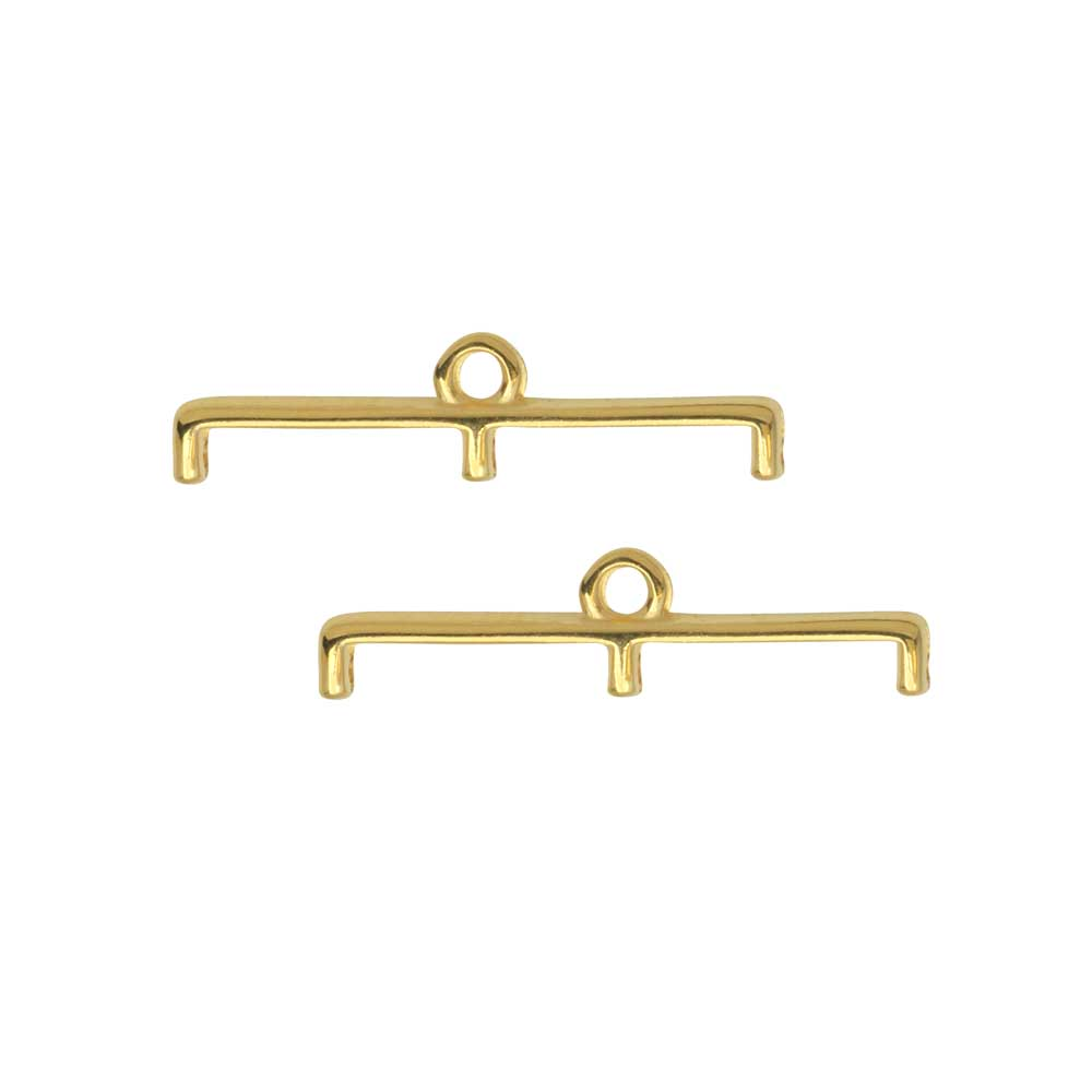 Cymbal Bead Endings for 11/0 Delica & Round Beads, Topolia III, 5.5x23mm, 2 Pieces, 24k Gold Plated