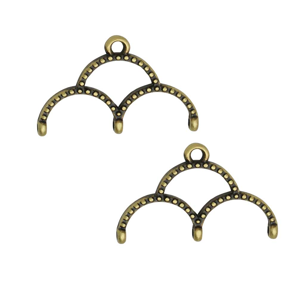 Cymbal Bead Endings for 11/0 Delica & Round Beads, Skaloti III, 14.5x22.5mm, 2 Pieces, Antiqued Brass Plated