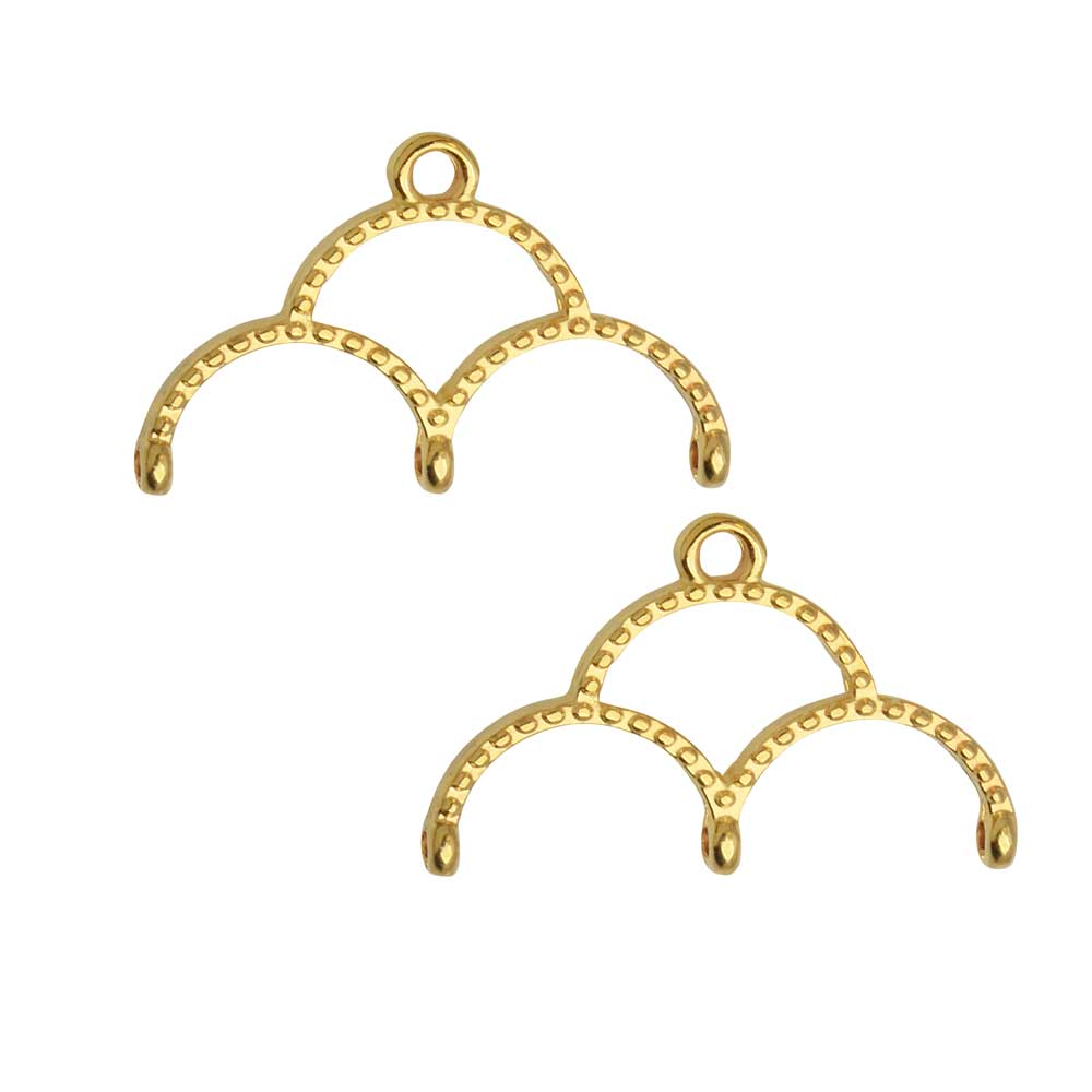 Cymbal Bead Endings for 11/0 Delica & Round Beads, Skaloti III, 14.5x22.5mm, 2 Pieces, 24k Gold Plated
