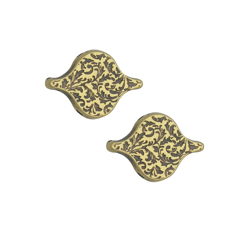 Cymbal Bead Connectors for PaisleyDuo Beads, Liotrivi, 10.5x15mm, 2 Pieces, Antiqued Brass Plated