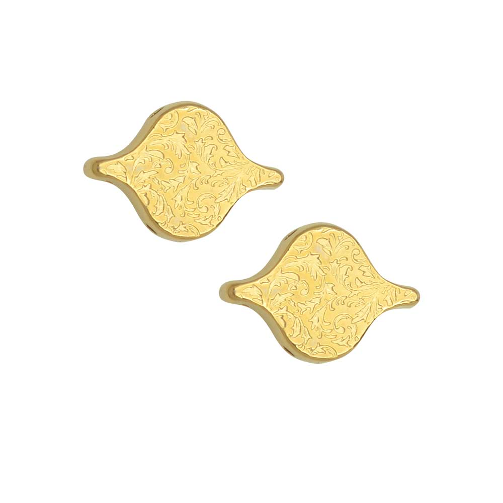 Cymbal Bead Connectors for PaisleyDuo Beads, Liotrivi, 10.5x15mm, 2 Pieces, 24k Gold Plated