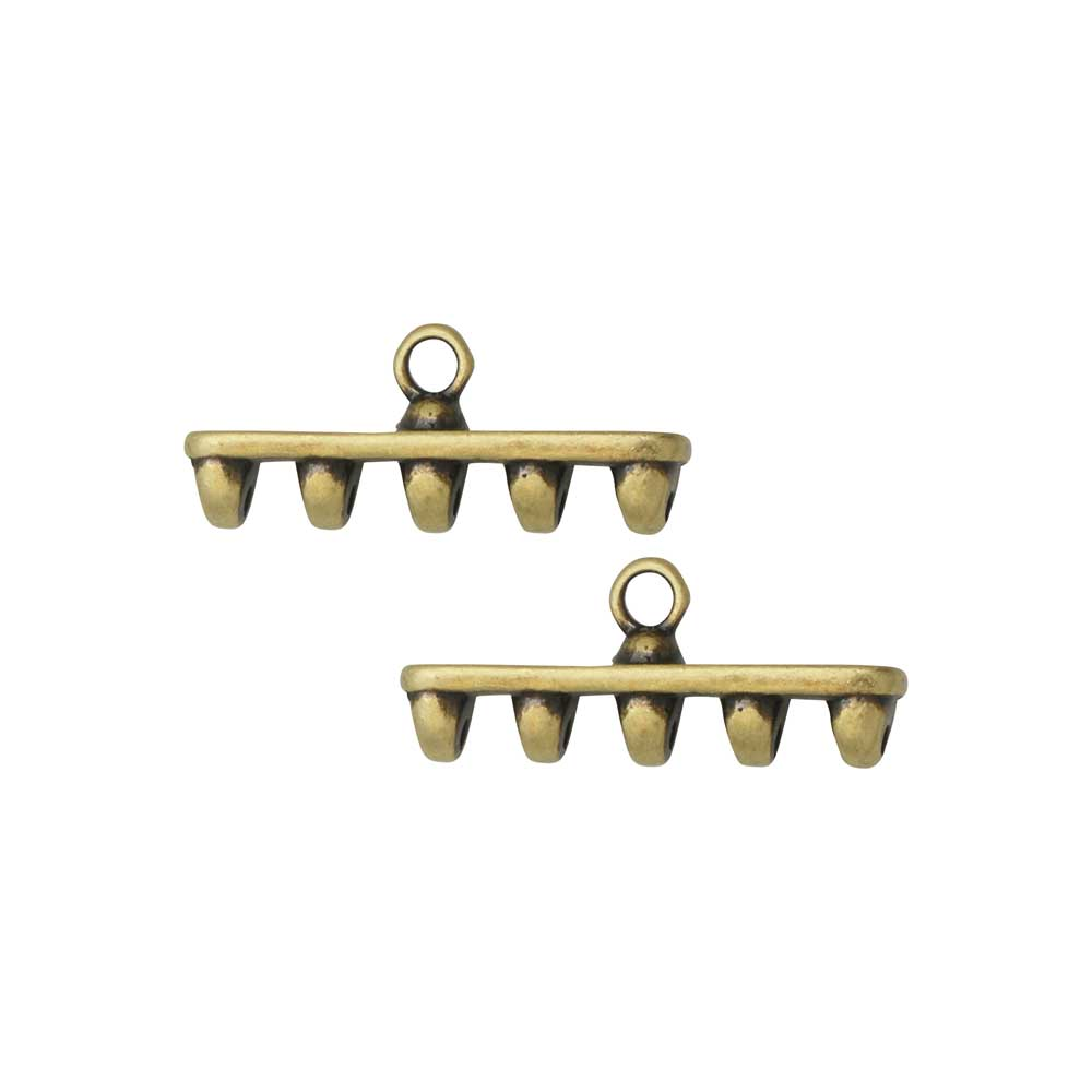 Cymbal Bead Endings for SuperDuo Beads, Rozos V, 8x19.5mm, 2 Pieces, Antiqued Brass Plated