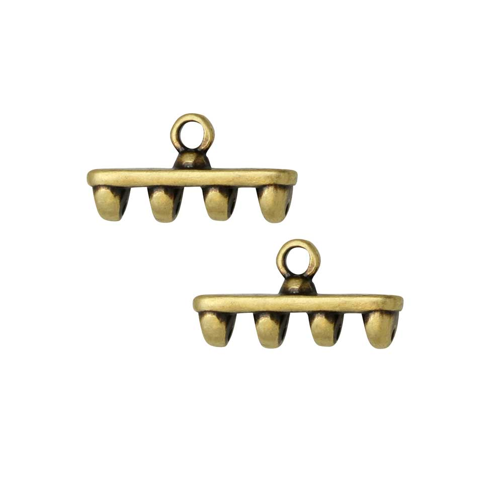 Cymbal Bead Endings for SuperDuo Beads, Rozos IV, 8x15mm, 2 Pieces, Antiqued Brass Plated