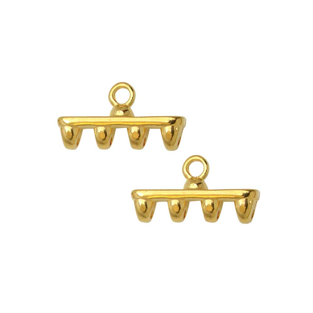 Cymbal Bead Endings for SuperDuo Beads, Rozos IV, 8x15mm, 2 Pieces, 24k Gold Plated