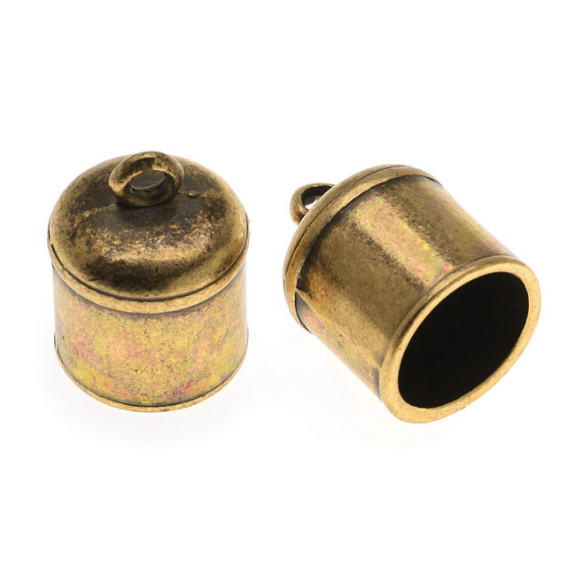 Regaliz Findings, Barrel Cord Ends 17x12.5mm Fits 10mm Round Cord, 2 Pieces, Antiqued Brass