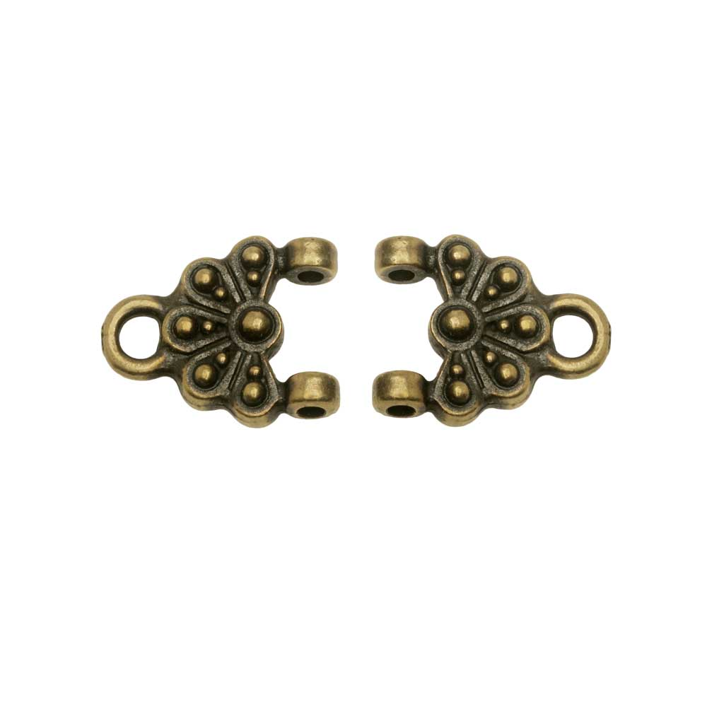 Connector Link, Oasis 14mm, Brass Oxide Finish, 2 Pieces, By TierraCast