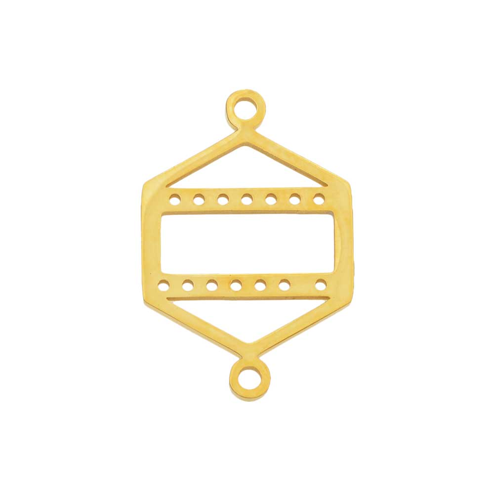 Centerline Beadable Connector Link, Hexagon Shape with Cutout and Holes 23x15mm,  Gold Plated