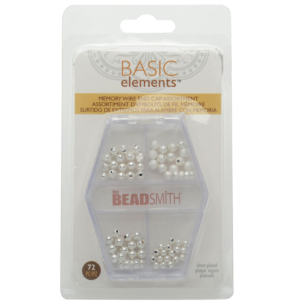 End Cap Beads for Memory Wire, Round Glue In 3 & 4mm Diameter, 72 Pieces, Silver Plated