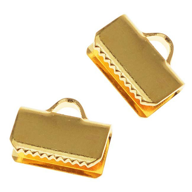 Cord Ends, Ribbon Pinch Crimp 10x5.5mm, 20 Pieces, Gold Plated