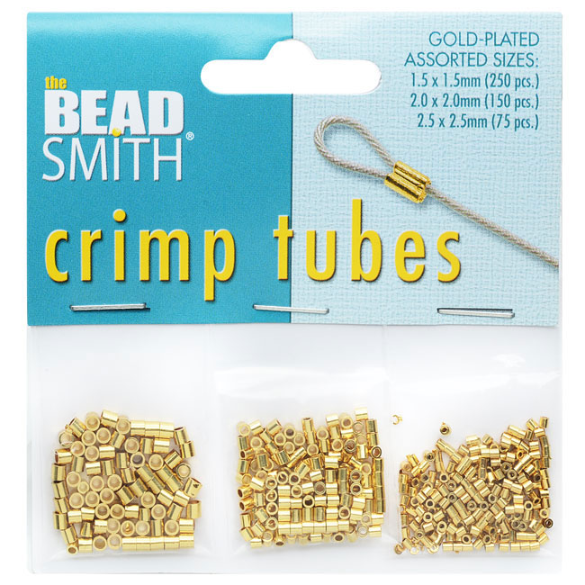 The Beadsmith Crimp Tube Assorted Variety Pack, 3 Sizes 1.5mm 2mm 2.5mm, 475 Pieces, Gold Plated