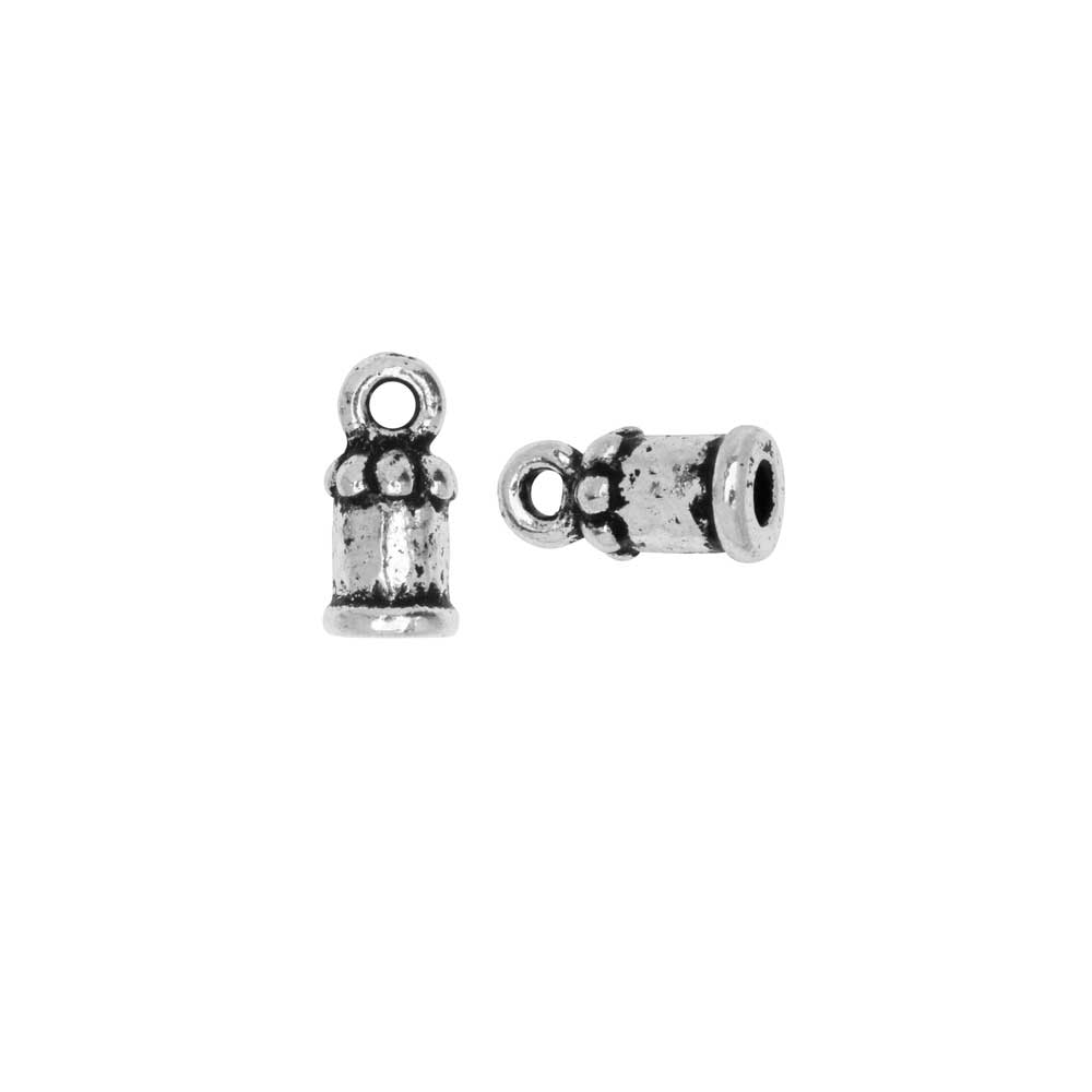 Cord End, Palace Dome 10.5mm, Fits 2mm Cord, Antiqued Silver, 2 Pieces, By TierraCast