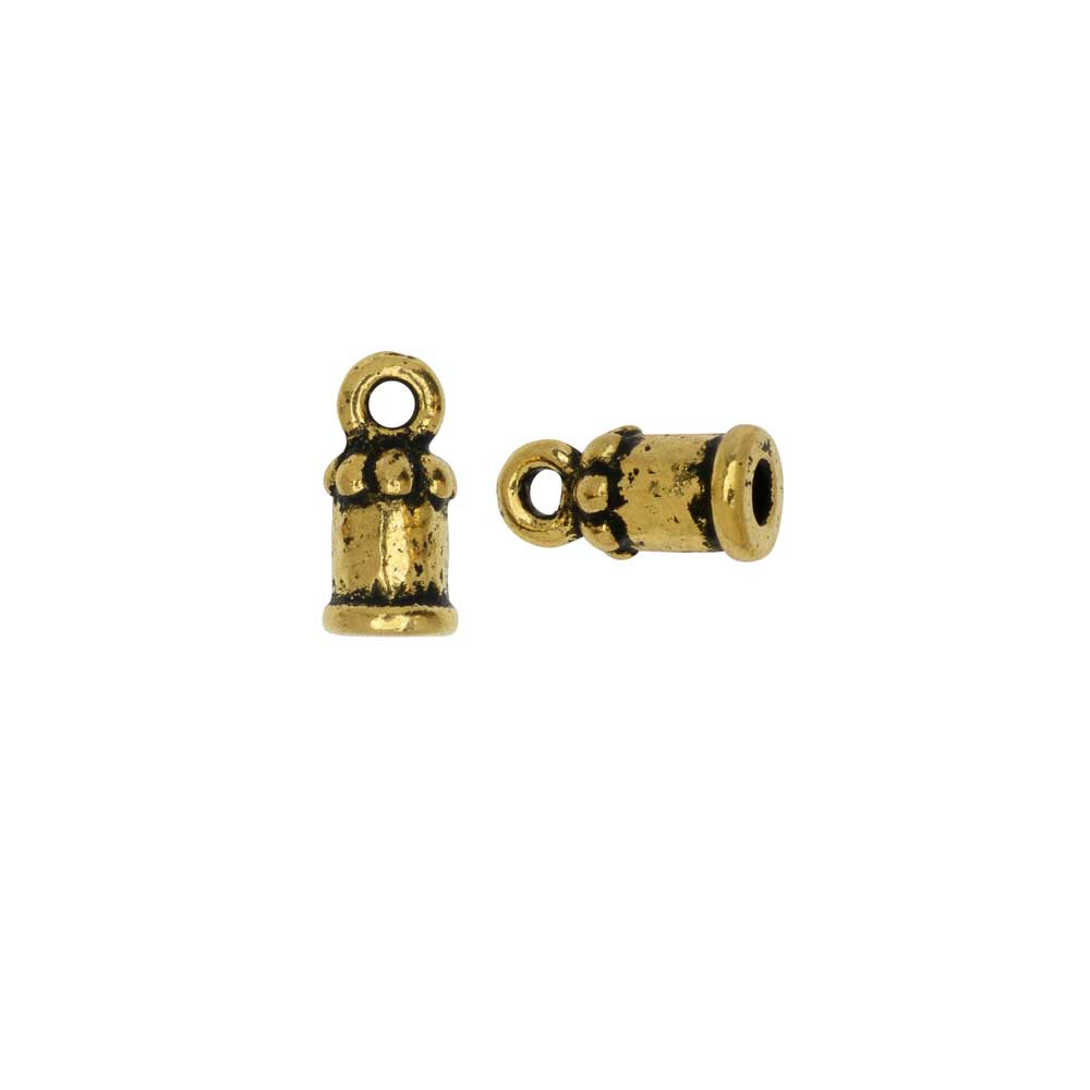 Cord End, Palace Dome 10.5mm, Fits 2mm Cord, Antiqued Gold, 2 Pieces, By TierraCast