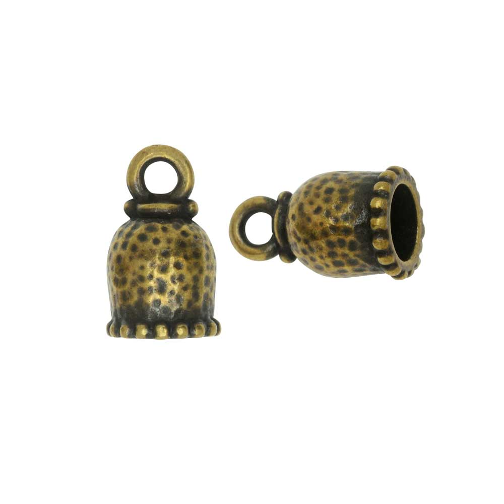 Cord End, Palace Dome 15mm, Fits 6mm Cord, Brass Oxide Finish, 2 Pieces, By TierraCast