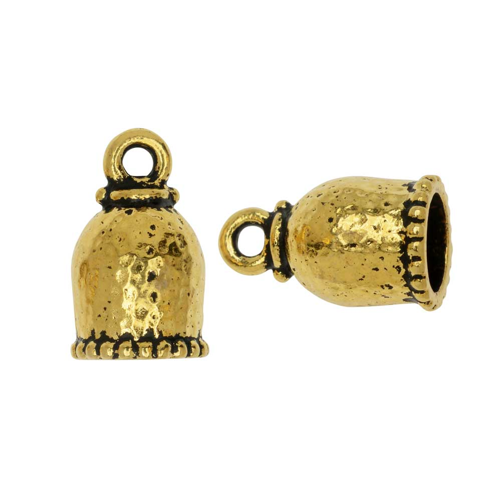 Cord End, Palace Dome 18mm, Fits 8mm Cord, Antiqued Gold, 2 Pieces, By TierraCast