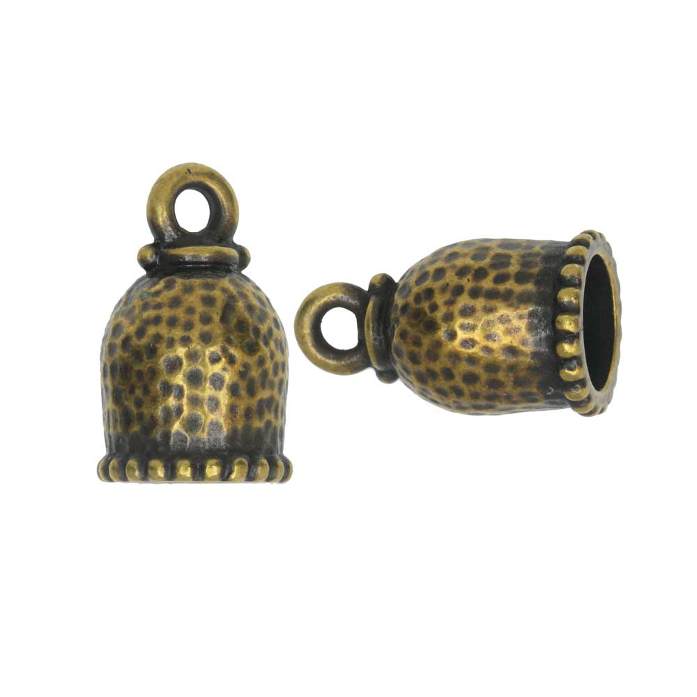 Cord End, Palace Dome 18mm, Fits 8mm Cord, Brass Oxide Finish, 2 Pieces, By TierraCast