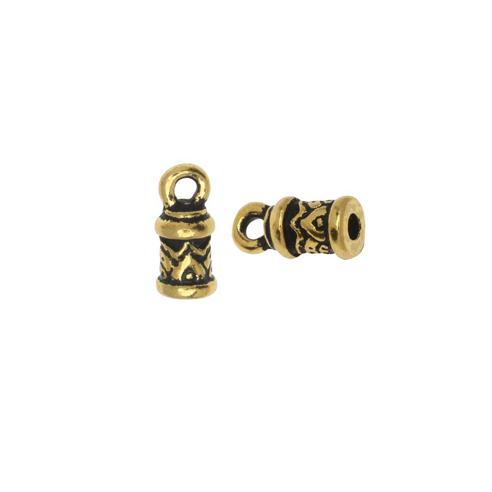 Cord End, Temple Dome 11mm, Fits 2mm Cord, Antiqued Gold, 2 Pieces, By TierraCast