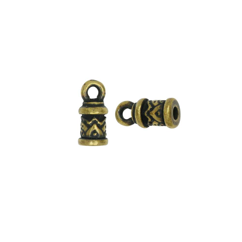 Cord End, Temple Dome 11mm, Fits 2mm Cord, Brass Oxide Finish, 2 Pieces, By TierraCast