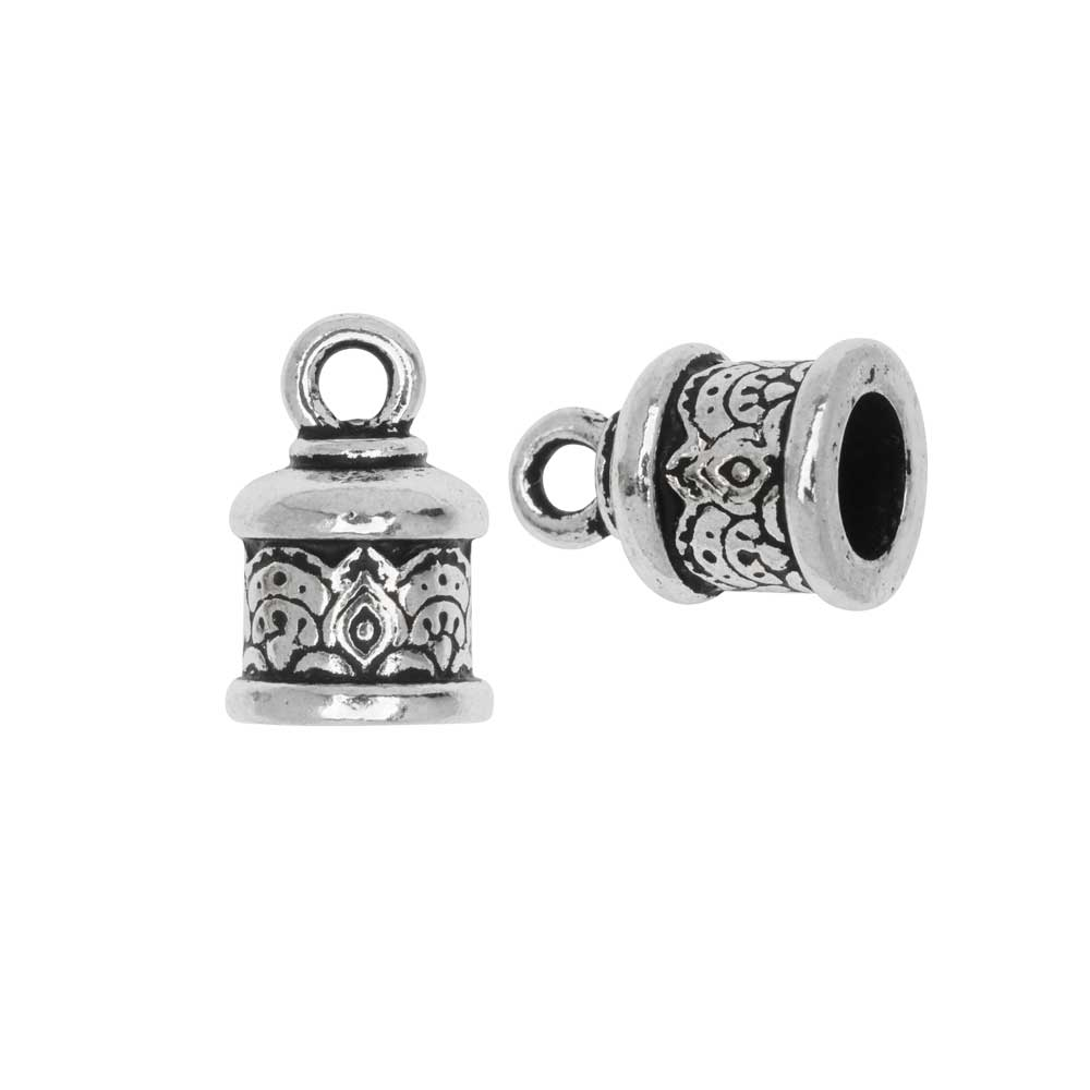Cord End, Temple Dome 14.5mm, Fits 6mm Cord, Antiqued Silver, 2 Pieces, By TierraCast
