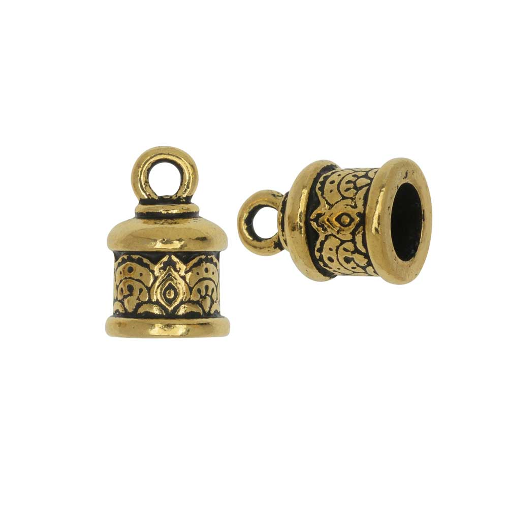 Cord End, Temple Dome 14.5mm, Fits 6mm Cord, Antiqued Gold, 2 Pieces, By TierraCast