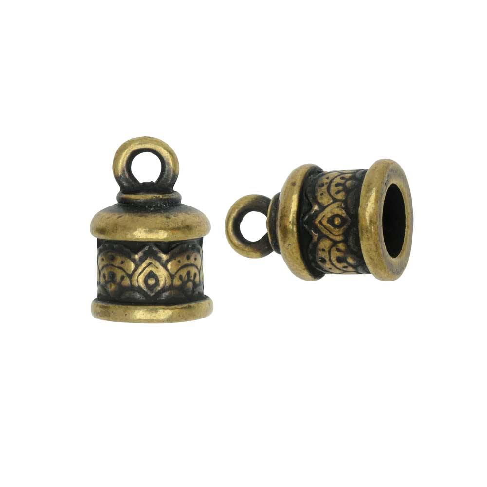 Cord End, Temple Dome 14.5mm, Fits 6mm Cord, Brass Oxide Finish, 2 Pieces, By TierraCast