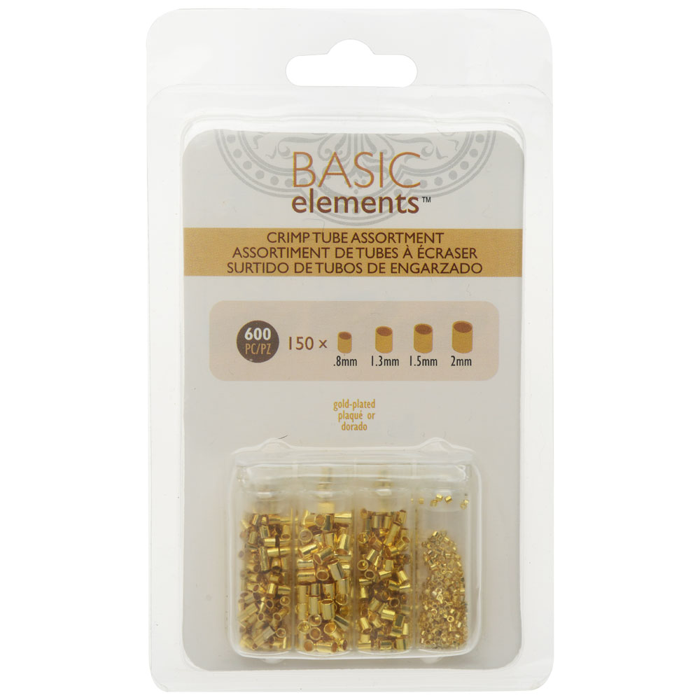 Basic Elements Crimp Tube Beads, 4 Size Variety Pack, 600 Pieces, Gold Plated