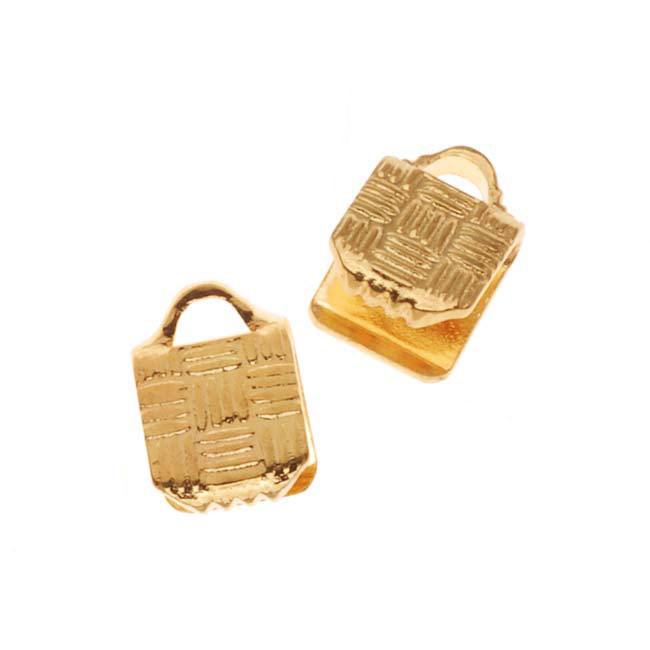 Cord Ends, Ribbon Pinch Crimps with Woven Texture 5x5mm, 10 Pieces, Gold Plated