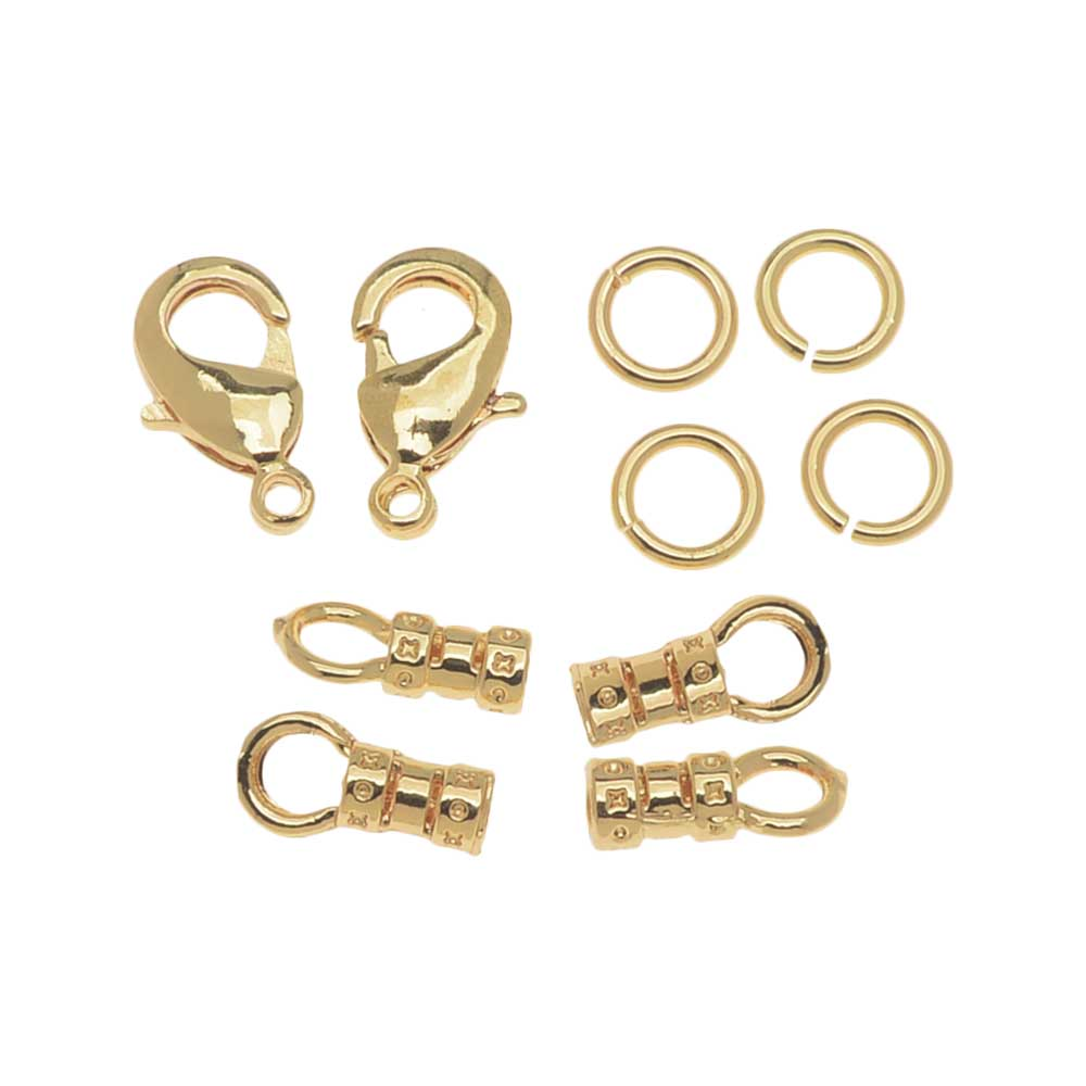 Beadalon Clasp Set, Lobster Clasp / Open Jump Ring / Loop Crimp fits 2mm Cord, 2 Sets, Gold Tone