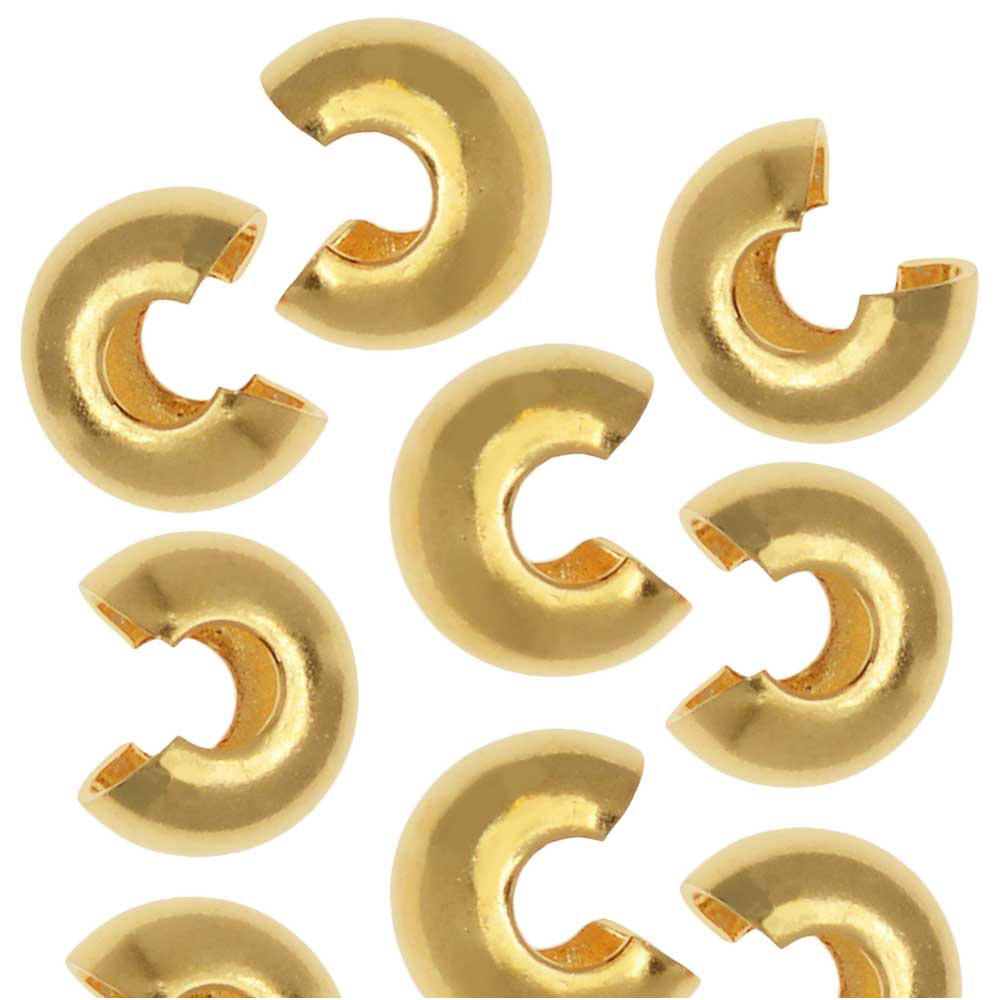 Crimp Bead Covers, 5mm, 50 Pieces, Gold Plated