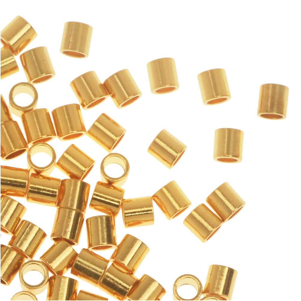 Crimp Beads, Tube 2x2mm, 100 Pieces, Gold Plated