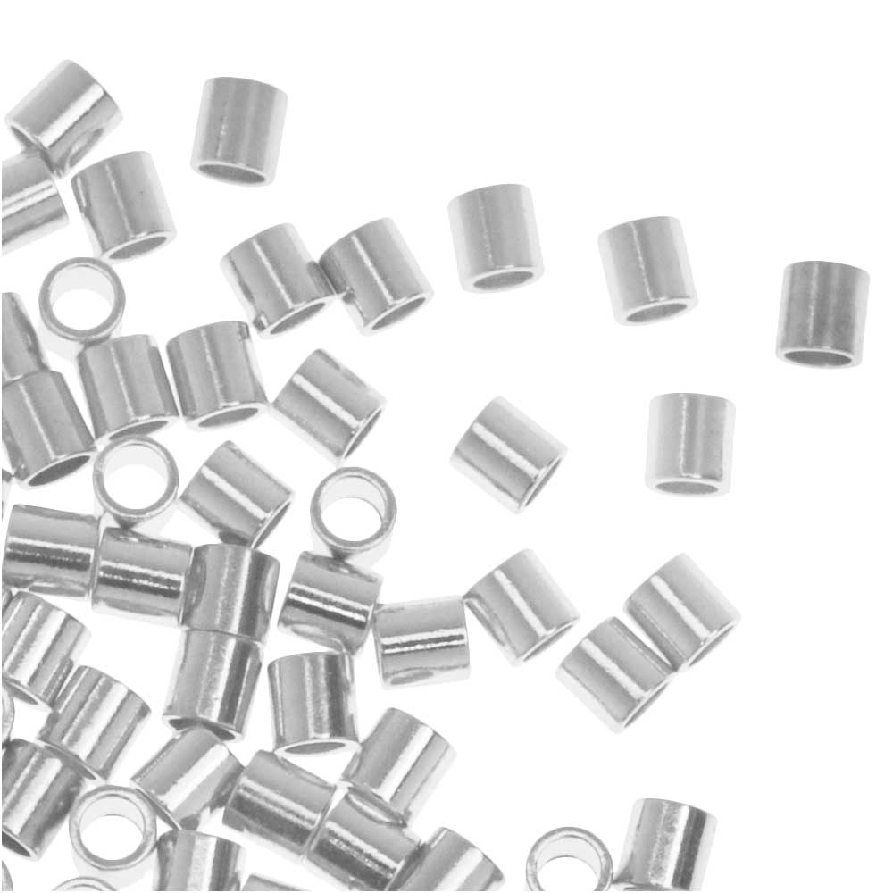 Crimp Beads, Tube 2x2mm, 100 Pieces, Silver Plated