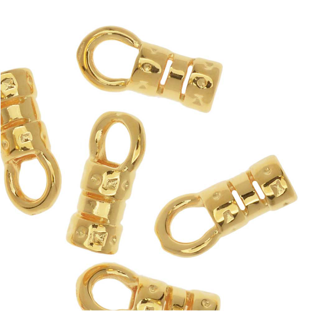 Cord Ends, Fancy Crimp Style with Loop, Fits 2mm Cord, 20 Pieces, Gold Plated