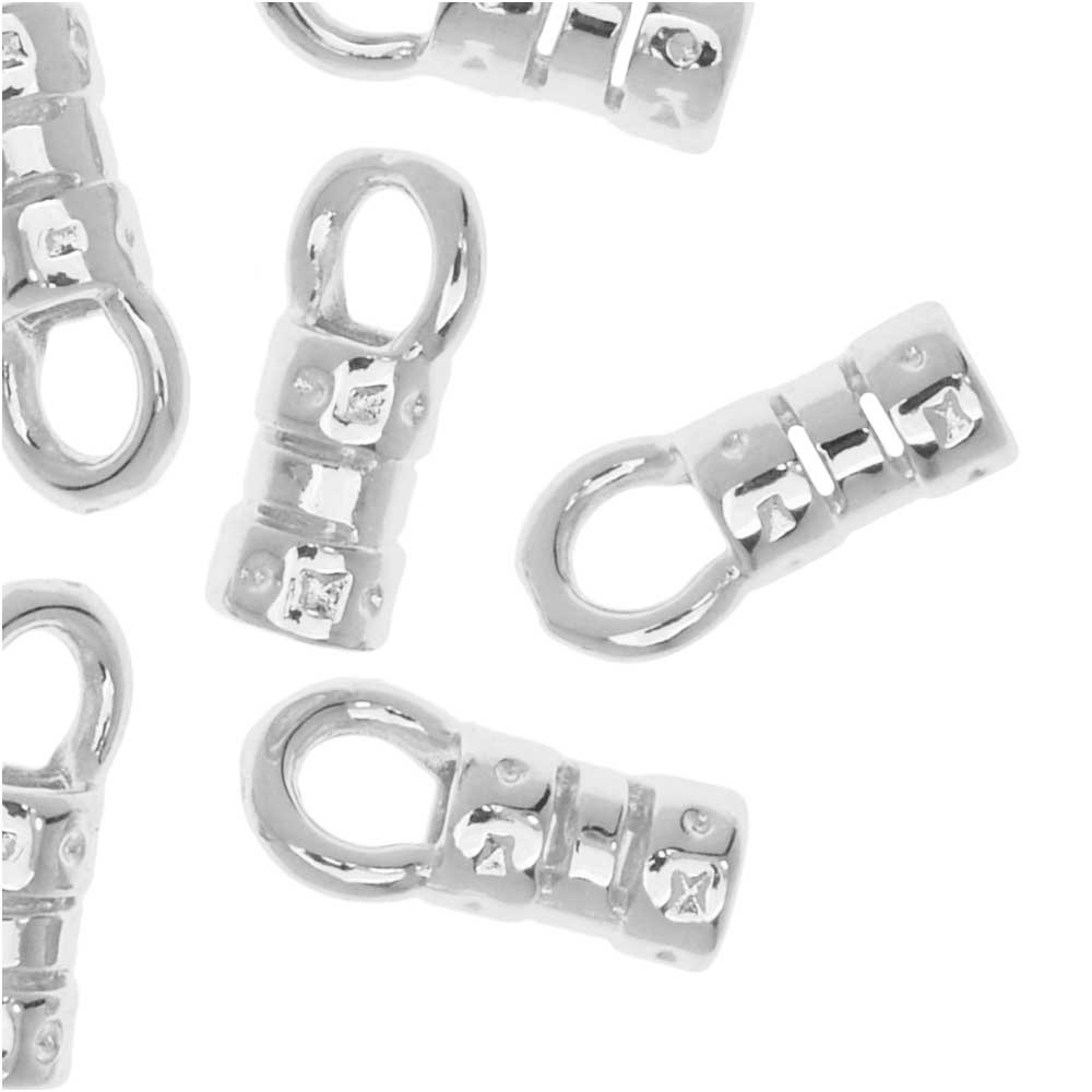 Cord Ends, Fancy Crimp Style with Loop, Fits 2mm Cord, 20 Pieces, Silver Plated