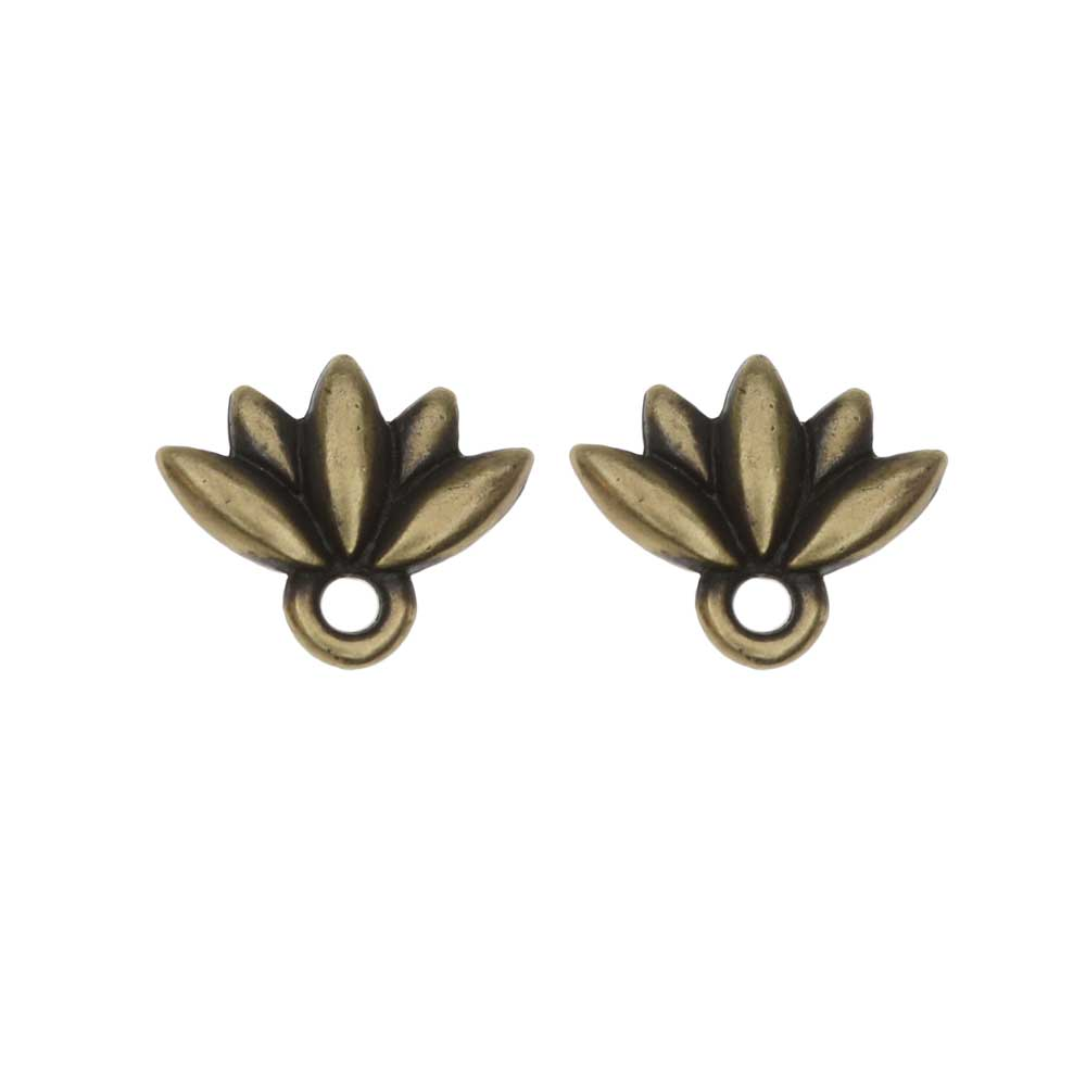 TierraCast Pewter Earring Post, Lotus Flower with Ring 9.5x11.5mm, 1 Pair, Brass Oxide Finish