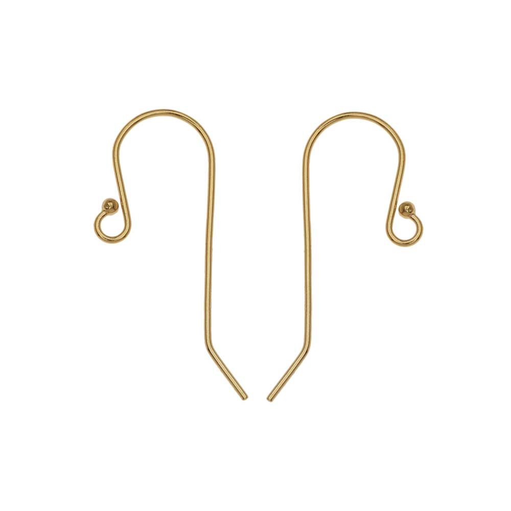 French Ear Wire, with 1.5mm Ball End 27x11mm, 1 Pair, 14K Gold Filled