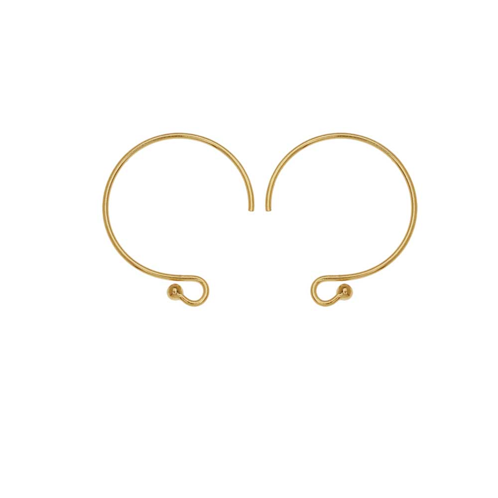 French Hoop Ear Wire, with 1.5 Ball End 15.5x13mm, 2 Pairs, 14K Gold Filled
