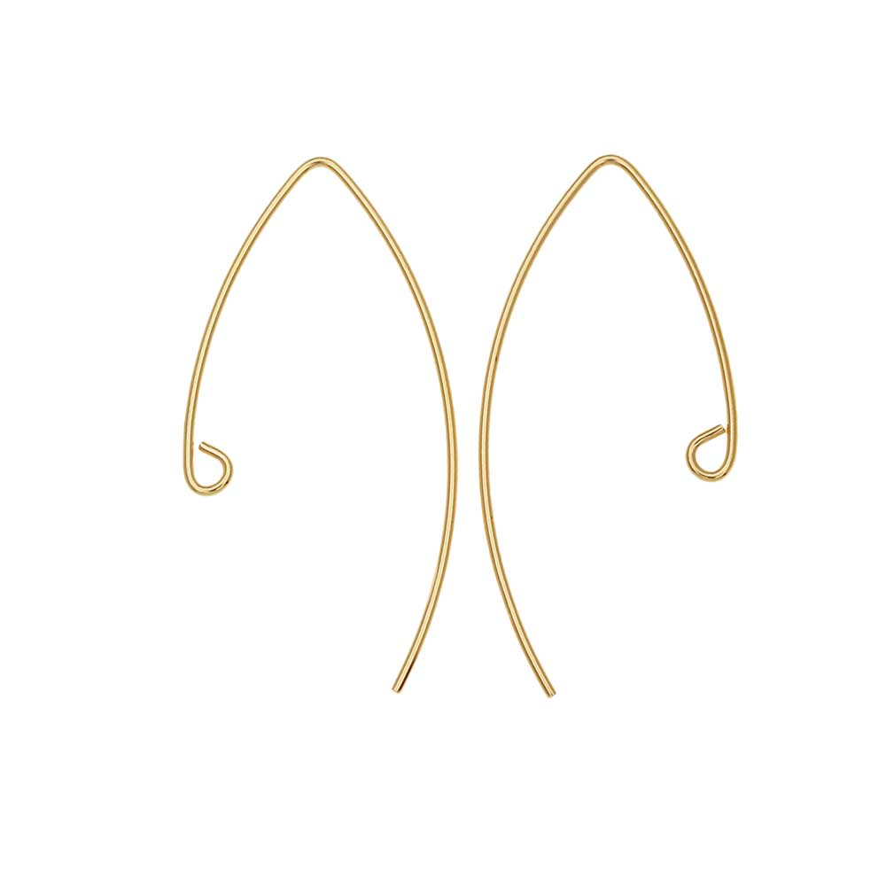 V-Shaped French Ear Wire, with Loop 36x17.5mm, 2 Pieces, 14K Gold Filled
