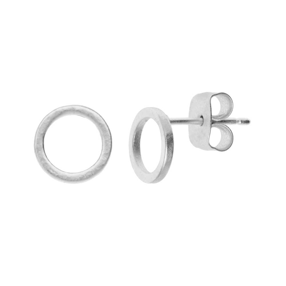 Final Sale - Earring Posts, Open Circle with Earnuts 8mm, 1 Pair, Matte Silver Toned