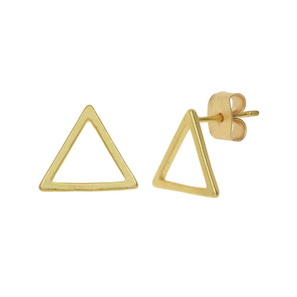 Earring Posts, Open Triangle with Earnuts 10mm, 1 Pair, Matte Gold Toned