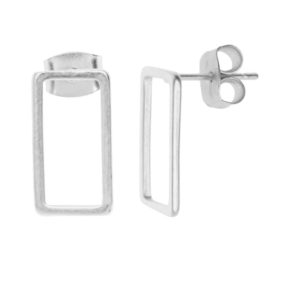 Earring Posts, Open Rectangle with Earnuts 8x15mm, 1 Pair, Matte Silver Toned