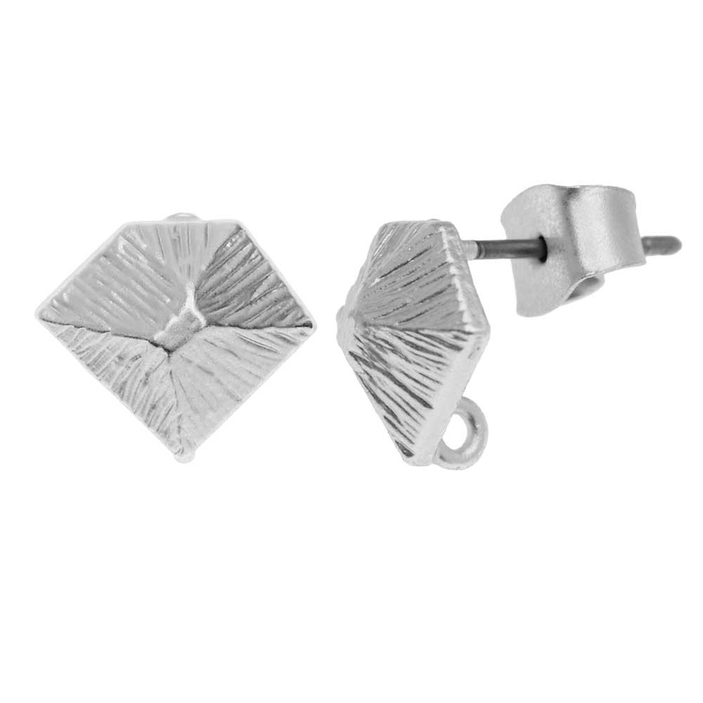 Earring Posts, Textured Diamond with Earnuts 9x10mm, 1 Pair, Matte Silver Toned