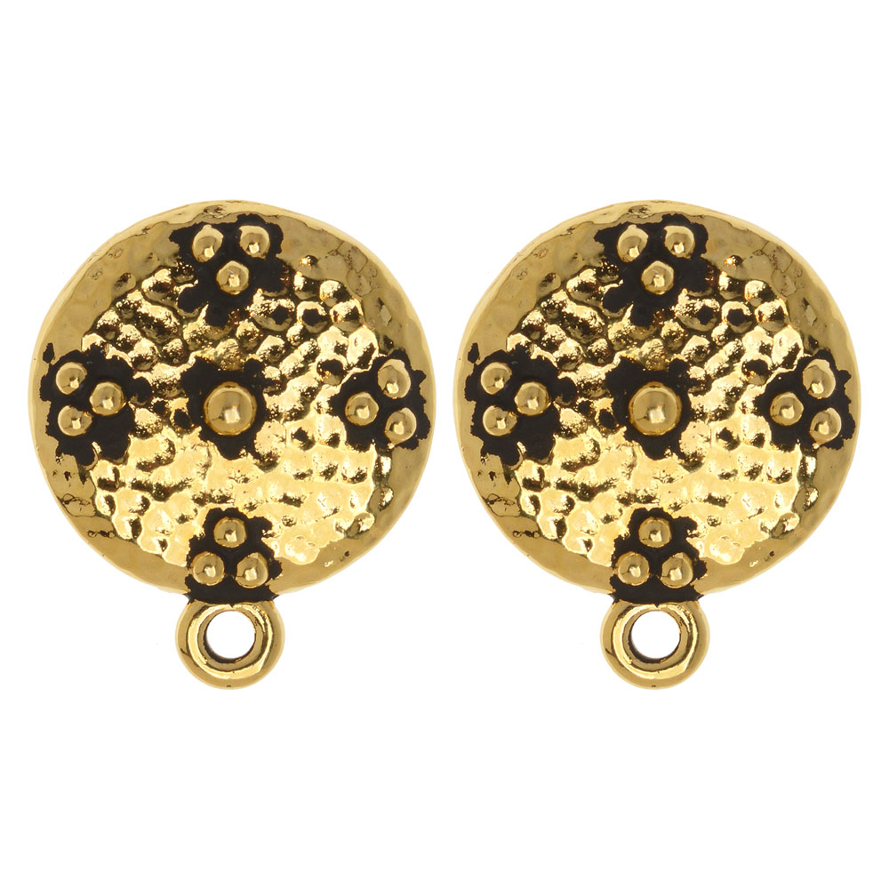 Clip On Earring, Opulence Circle with Loop 19x16mm, 1 Pair, Antiqued Gold Plated, By TierraCast
