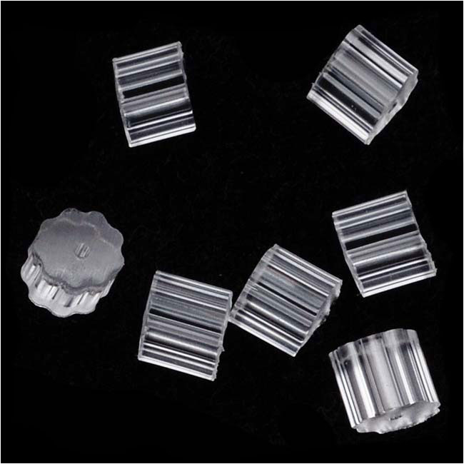 Earring Backs, Rubber Backs for Fish Hooks 3x3mm, 50 Pairs, Clear