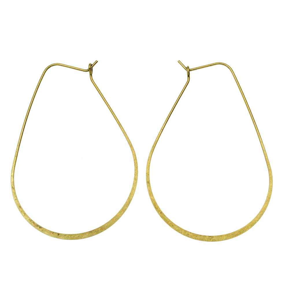 Final Sale - Nunn Design Earring Findings, Oval Hoop Ear Wire 38x56mm, 1 Pair, Antiqued Gold