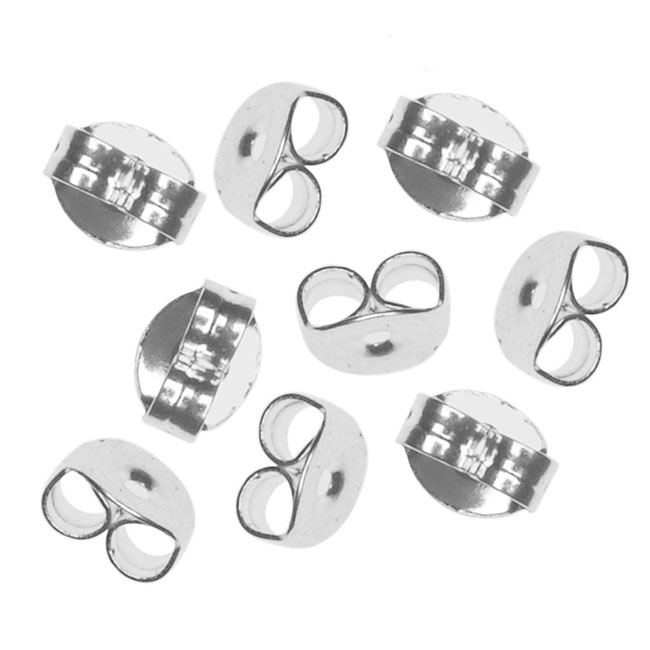 Earring Backs, Medium Clutch 5.5mm, 50 Pairs, Silver Plated