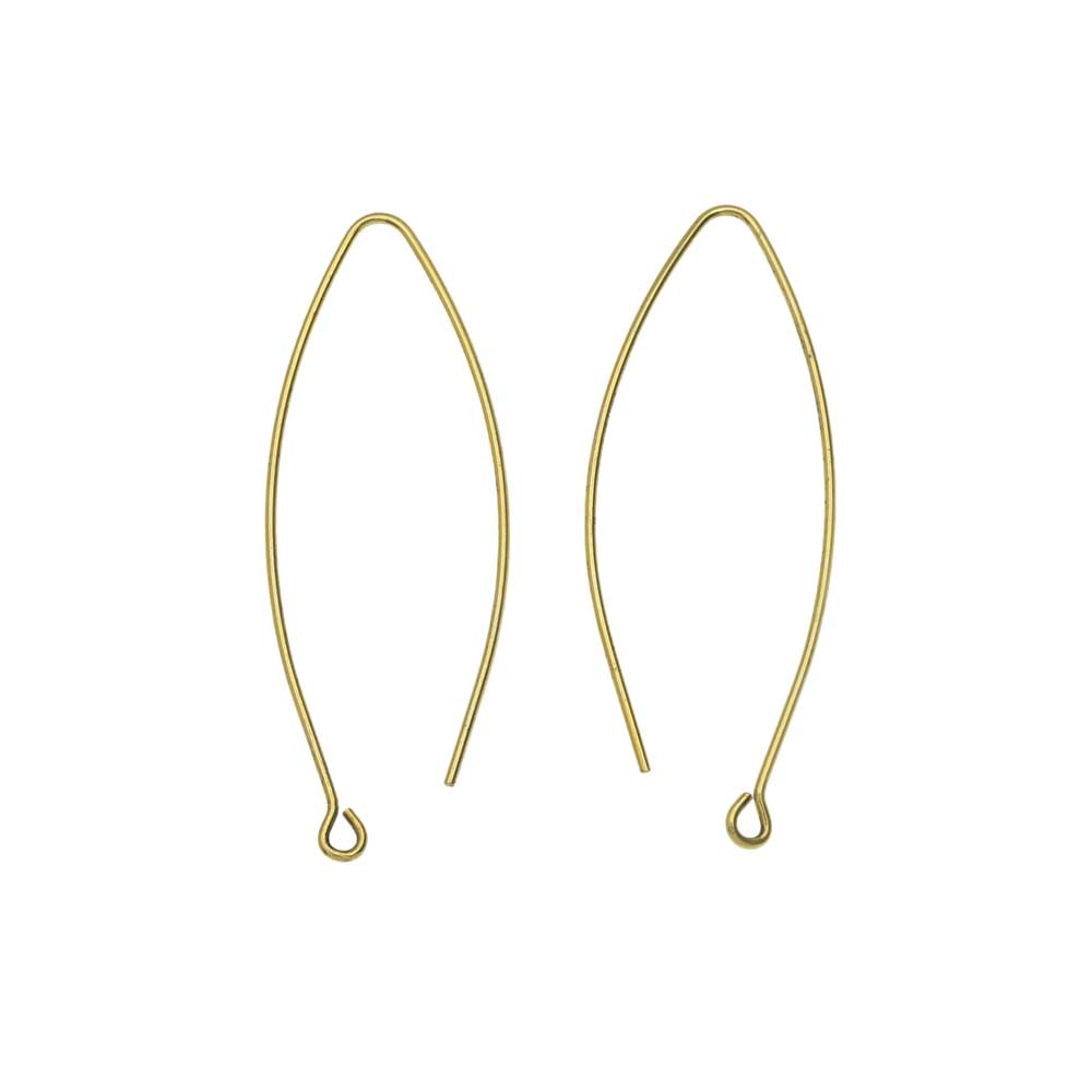 Nunn Design Earring Findings, Open Oval Hoop Ear Wire with Loop 15.5x44mm, 1 Pair, Antiqued Gold