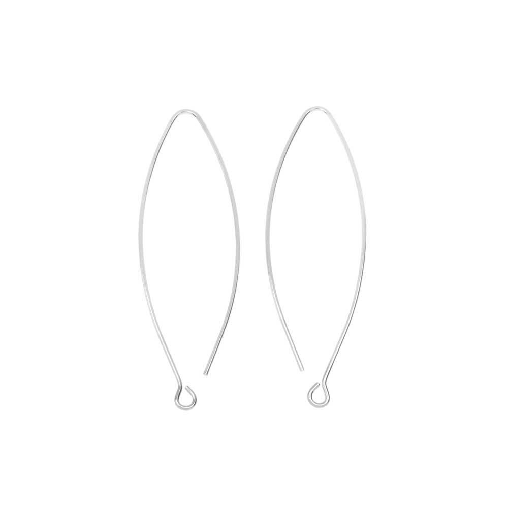 Nunn Design Earring Findings, Open Oval Hoop Ear Wire with Loop 15.5x44mm, 1 Pair, Bright Silver
