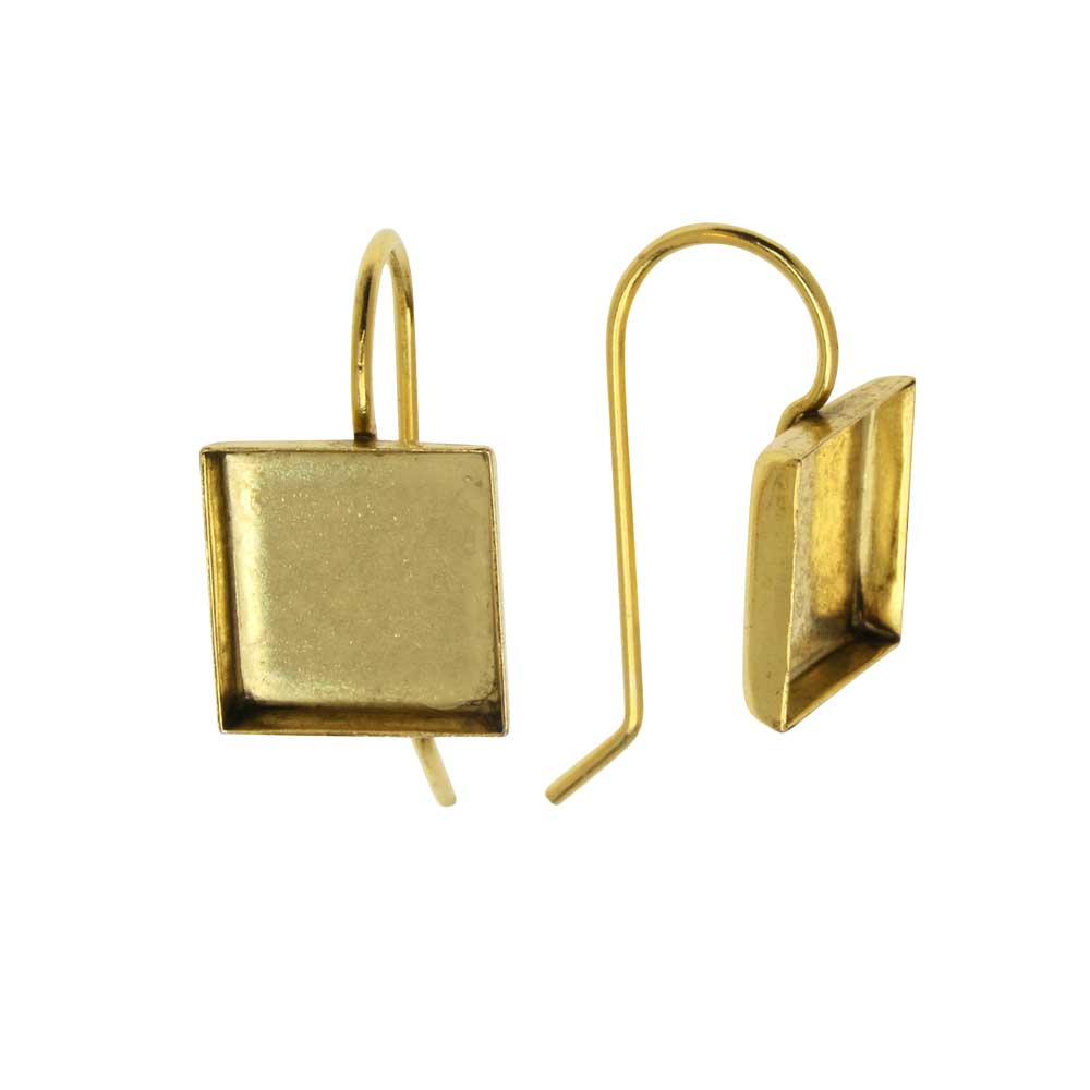 Earring Wire, Square Bezel 10mm, Antiqued Gold, 1 Pair, by Nunn Design