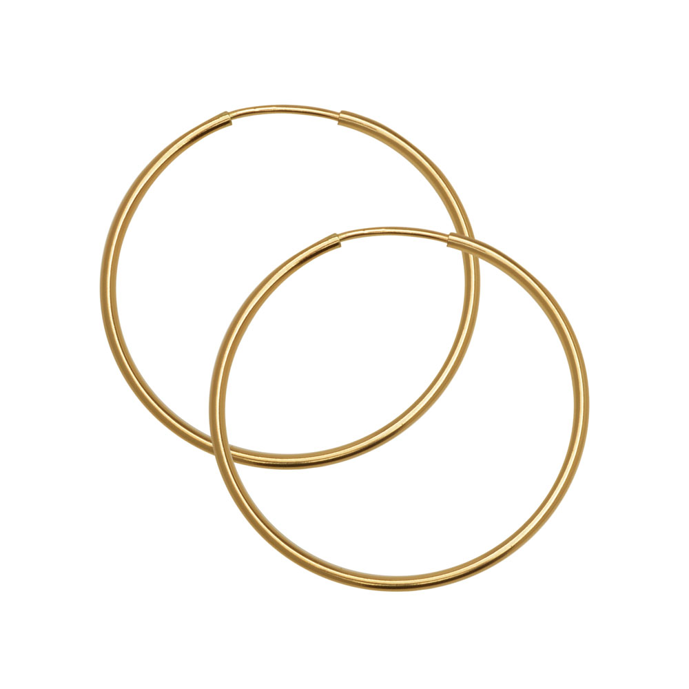 Endless Hoop Earring Component, w/ Hinged Wire 30mm Diameter and 1.25mm Thick, 1 Pair, 14K Gold Filled