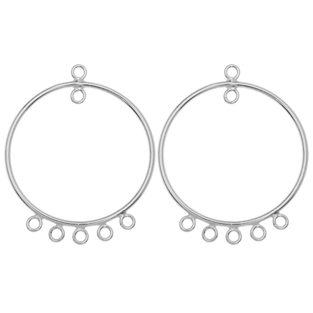 Earring Findings, Chandelier Hoop with 5 Rings 33mm, 1 Pair, Sterling Silver