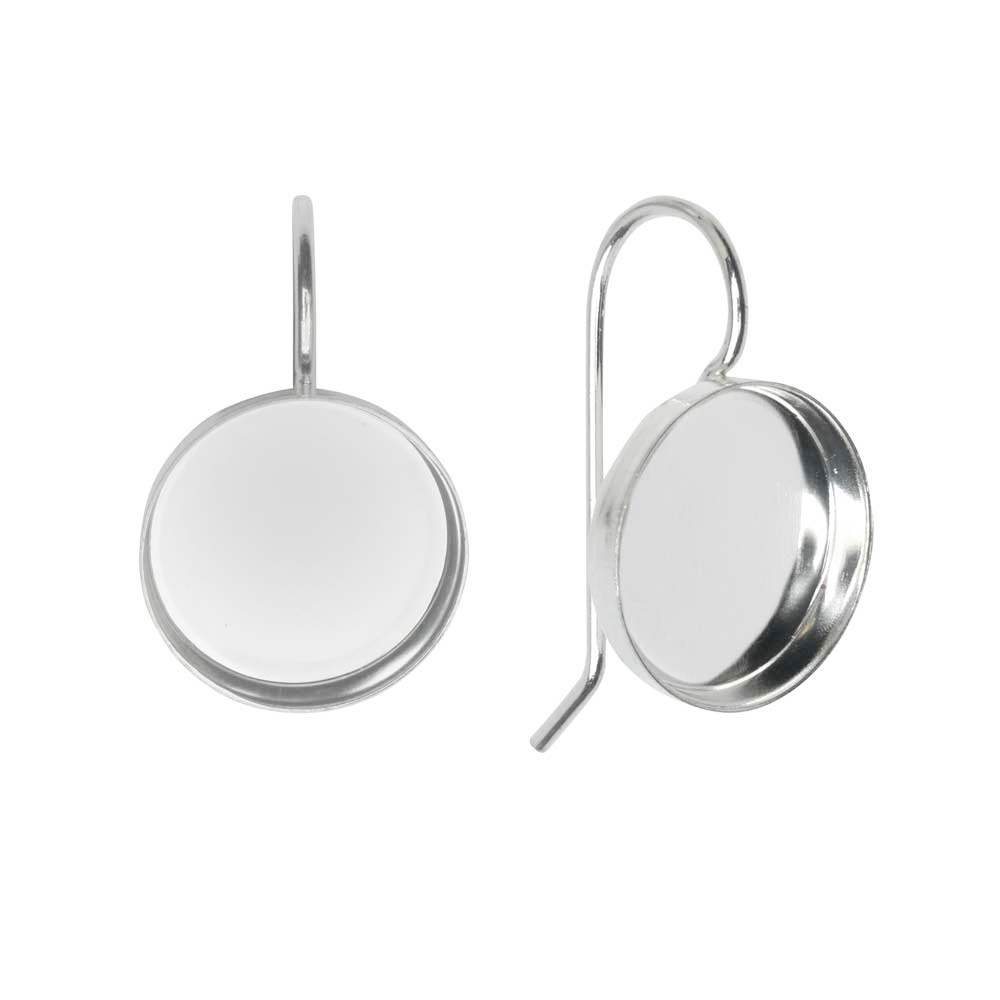 Earring Wire, Circle Bezel 12mm, Bright Silver, 1 Pair, by Nunn Design